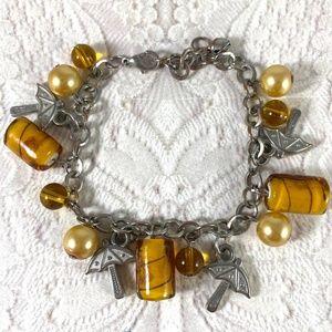 Vintage silver-tone golden glass charm bracelet